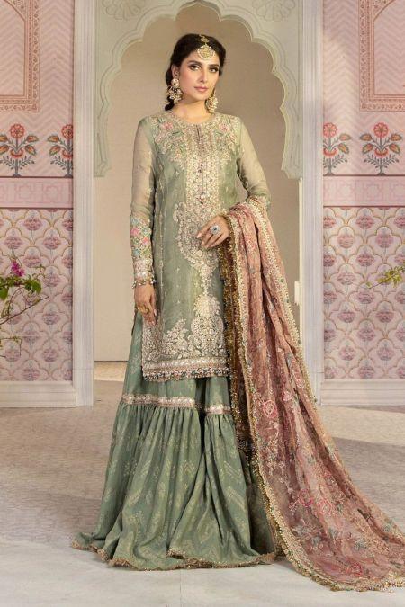 Maria b custom stitch Gharara style Wedding Dress Pistachio Green and Salmon pink (BD-2205)