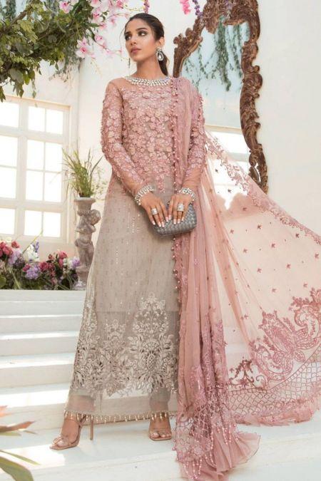 Maria b custom stitch Maxi style Wedding Dress Coffee and Ash Pink (BD-2101)