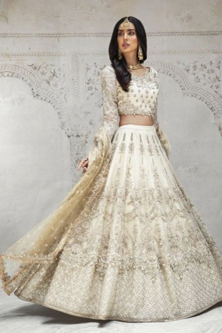 Maria b custom stitch Lehenga Choli style Wedding Dress off white (MC-019)