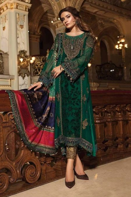 Maria b custom stitch Salwar Kameez style Wedding Dress Emerald Green (MB18-W01)