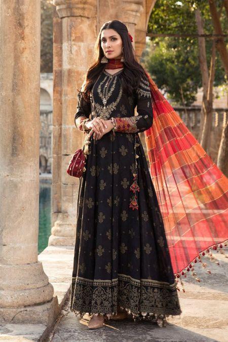 Maria b custom stitch Frock style Lawn Dress Black (D-2104-B)