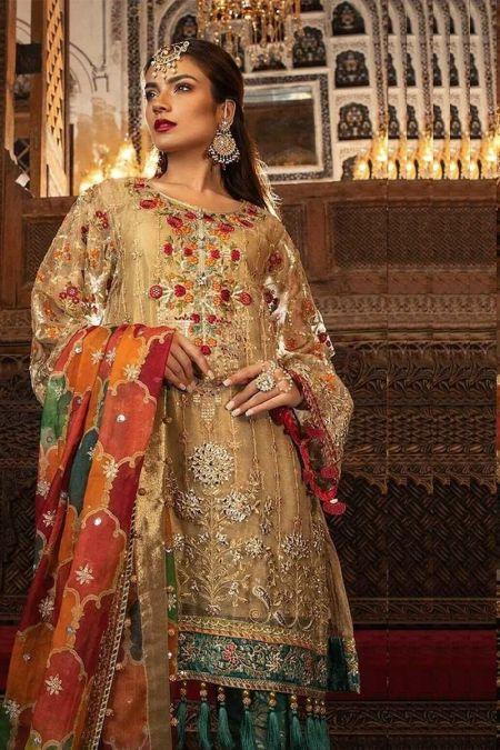 Maria b custom stitch Trouser Kameez style Wedding Dress Shimmering Gold (BD-1707)