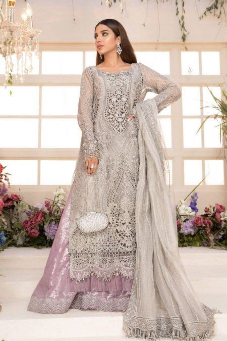 Maria b custom stitch Flapper Kameez style Wedding Dress Grey and Lilac (BD-2108)