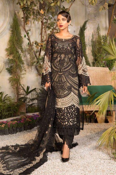 Maria b custom stitch Trouser Kameez style Wedding Dress Black and Coffee (BD-2106)