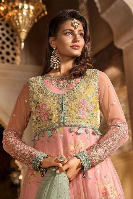 Maria b custom stitch Long Frock style Wedding Dress Daffodil Yellow and Candy Pink (BD-1802)