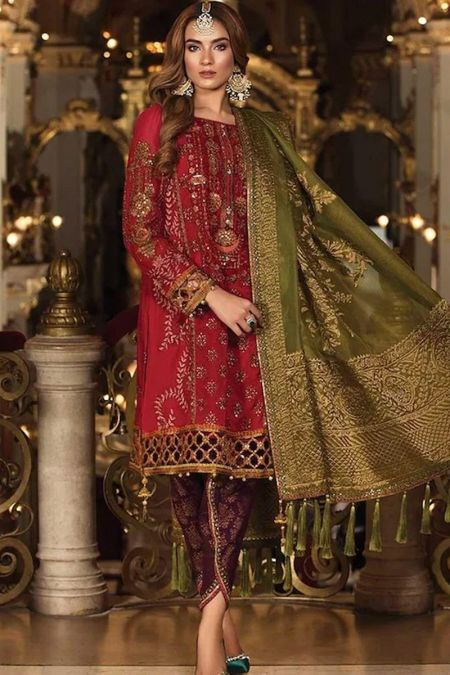 Maria b custom stitch Trouser Kameez style Wedding Dress Deep Red Nauratan (BD-1509)