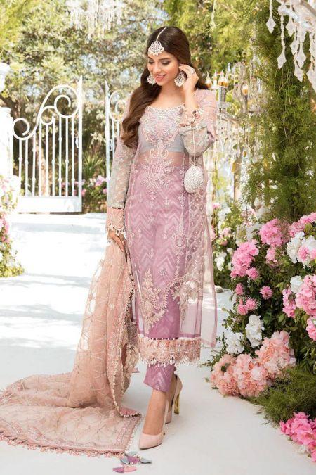 Maria b custom stitch Trouser Kameez style Wedding Dress Shades of Lilac Pink and Blue grey (BD-2105)