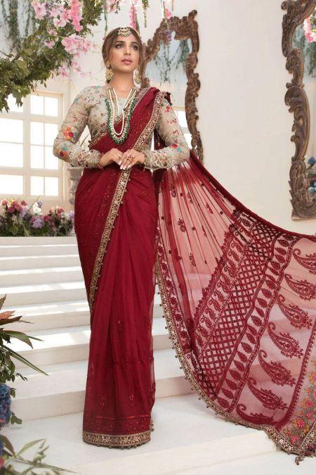 Maria b custom stitch Saree Blouse style Wedding Dress Deep red and Beige (BD-2107)