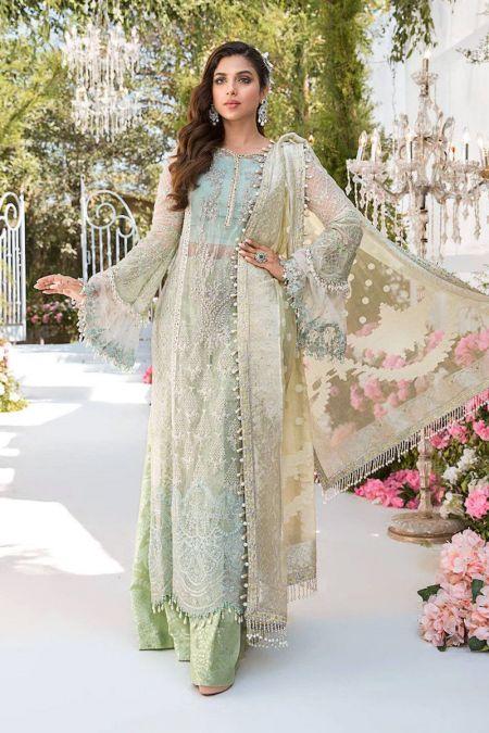 Maria b custom stitch Flapper Kameez style Wedding Dress Sky blue, Mint green and Lemon (BD-2102)