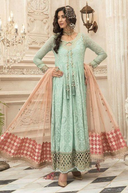 Maria b custom stitch Long Frock style Wedding Dress Sea Green (BD-1908)
