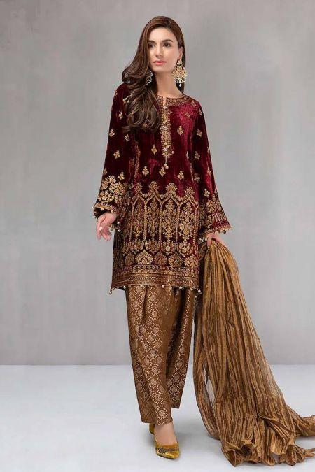 Maria b custom stitch Velvet Salwar Kameez style Wedding Dress Maroon (BD-0018)