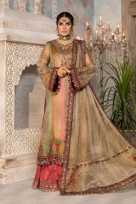 Maria b custom stitch Sharara Kameez style Wedding Dress Bronze, Maroon and Carrot pink (BD-2207)