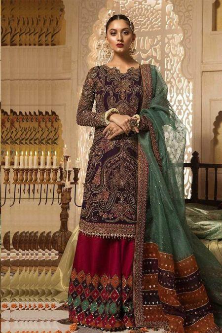 Maria b custom stitch Sharara Kameez style Wedding Dress Purple and Red (FX-841)