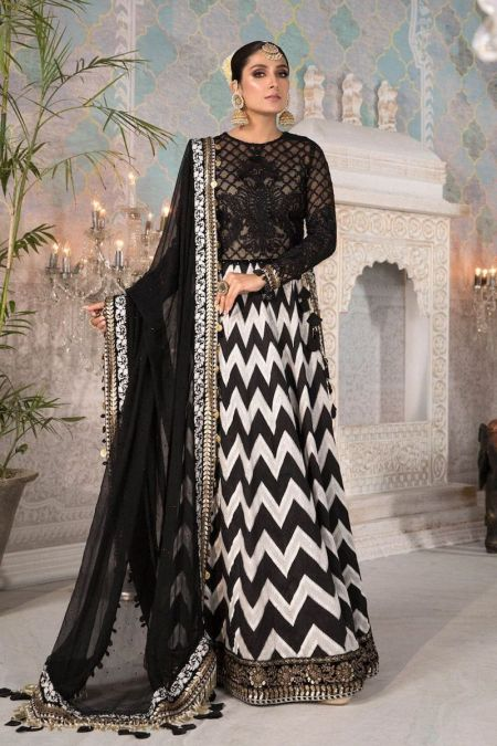 Maria b custom stitch Long Frock style Wedding Dress Black and White with Gold (BD-2203)