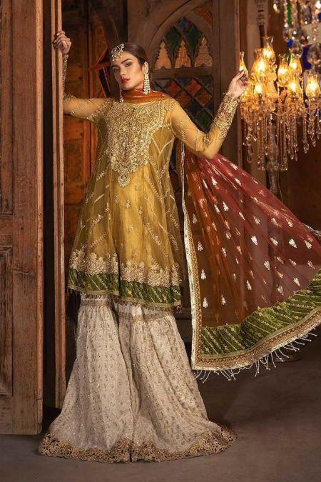 Maria b custom stitch Gharara style Wedding Dress Mustard, Fuschia & Off White (BD-1708)