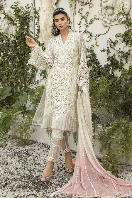 Maria b custom stitch Trouser Kameez style Wedding Dress Pearl White (BD-1505)