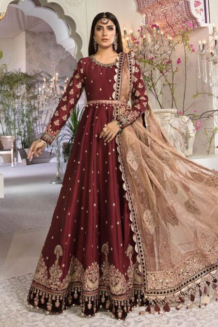 Maria b custom stitch Long Frock style Wedding Dress Maroon and Salmon pink (BD-2204)