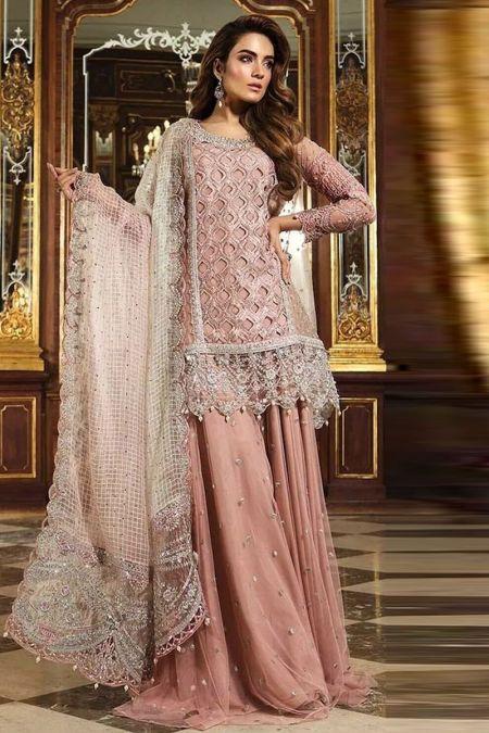 Maria b custom stitch Sharara Kameez style Wedding Dress Glittery Pink (BD-1506)