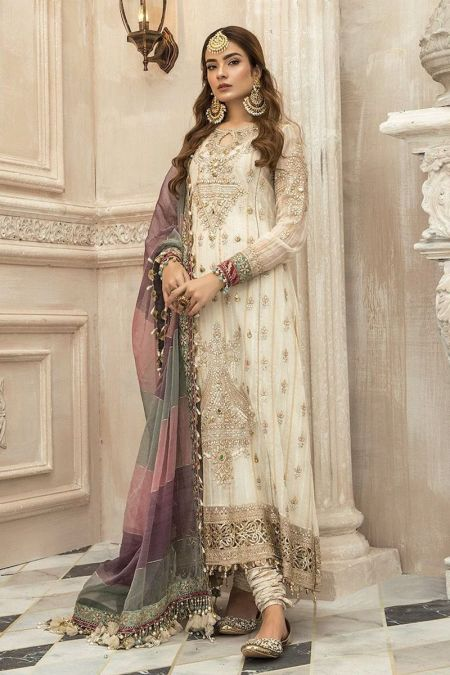 Maria b custom stitch Chooridar Kameez style Wedding Dress White (BD-2201)