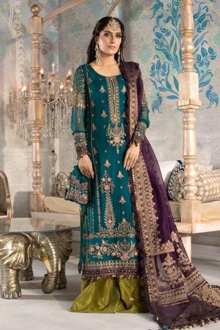 Maria b custom stitch Flapper Kameez style Wedding Dress Teal blue, Olive Green and Purple (BD-2202)