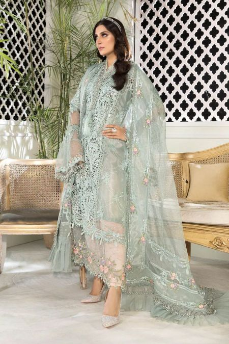 Maria b custom stitch Salwar Kameez style Wedding Dress Sky blue and Peach (BD-2206)