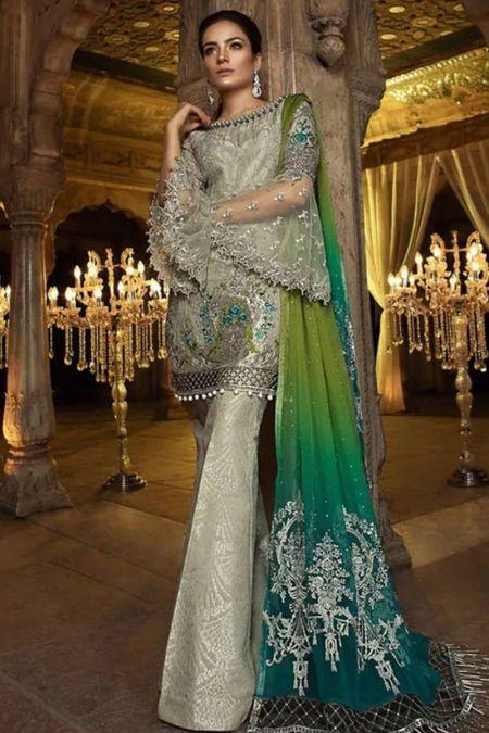 Maria b custom stitch Flapper Kameez style Wedding Dress Green (BD-0016)