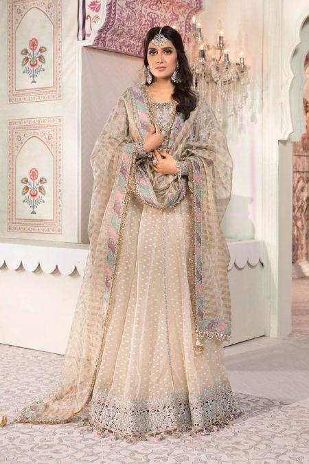 Maria b custom stitch Long Frock style Wedding Dress Pearl White (BD-2208)