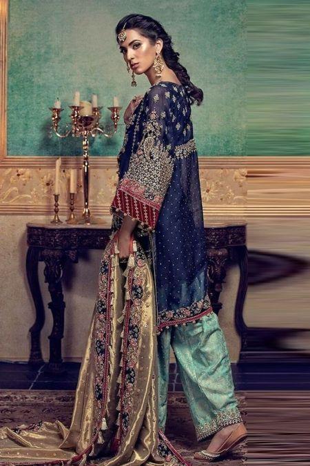 Maria b custom stitch Salwar Kameez style Wedding Dress Blue (BD-0019)