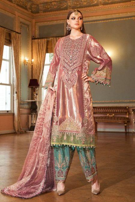 Maria b custom stitch Salwar Kameez style Wedding Dress Salmon Pink (BD-2008)