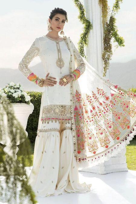 Maria b custom stitch Gharara style Wedding Dress White Rang E Bhara