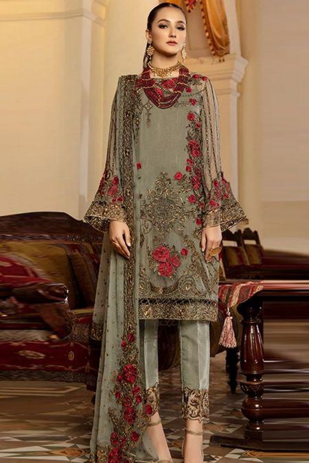 Imrozia custom stitch salwar kameez style Wedding Dress chiffon collection