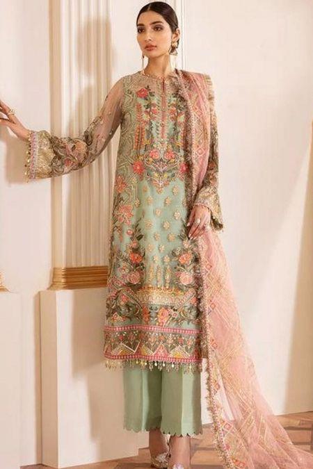 Jazmin custom stitch salwar Kameez style Wedding Dress chiffon collection CAPRI SEA