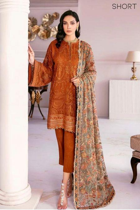 Jazmin custom stitch salwar Kameez style Wedding Dress chiffon collection orange