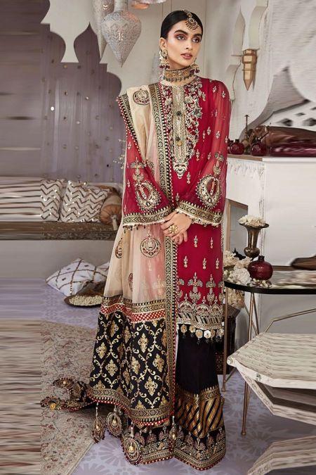 Anaya custom stitch sharara Kameez style Wedding Dress chiffon collection red black NARGIS