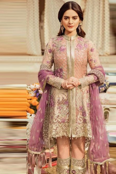 Imrozia custom stitch salwar kameez style Wedding Dress net collection Mauve Vista