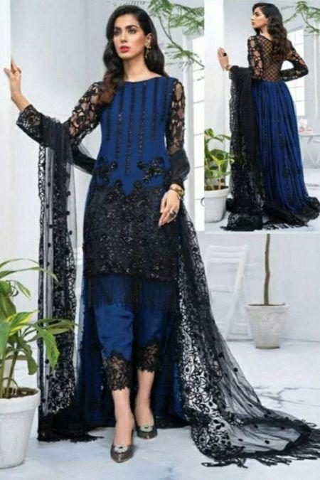 Imrozia custom stitch back tail frock style Wedding Dress chiffon collection blue black