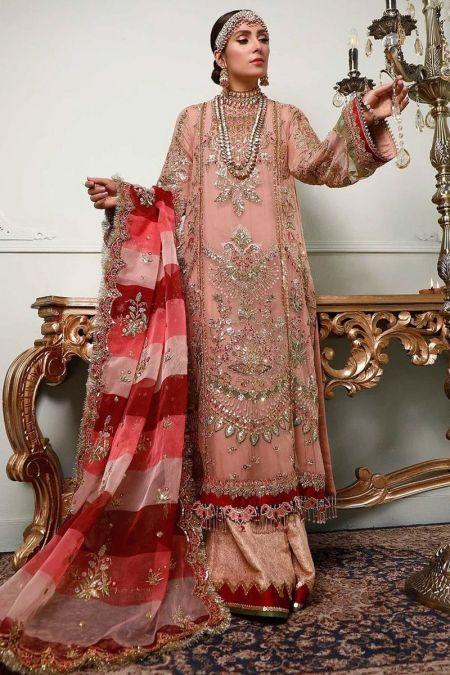 Anus Abrar custom stitch Flapper Kameez style Wedding Dress ORGANZA collection