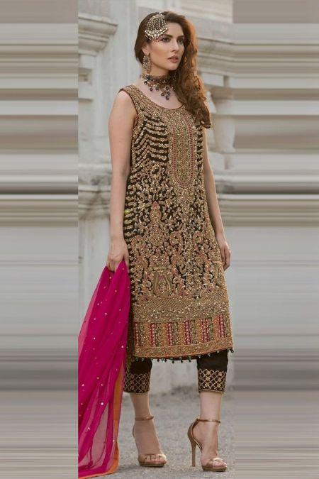 Aisha Imran custom stitch salwar Kameez style Wedding Dress chiffon collection black