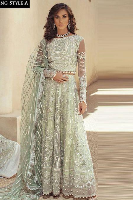 Mushq custom stitch lehenga choli maxi style Wedding Dress net collection Trousseau De Luxe Ocean Wave