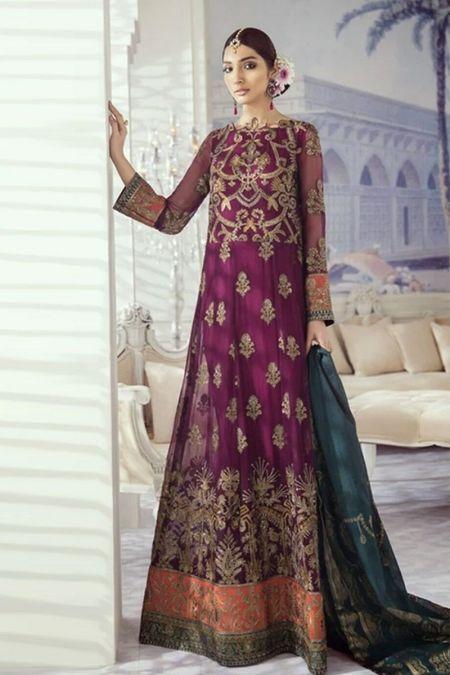 Iznik custom stitch long frock style Wedding Dress chiffon collection purple