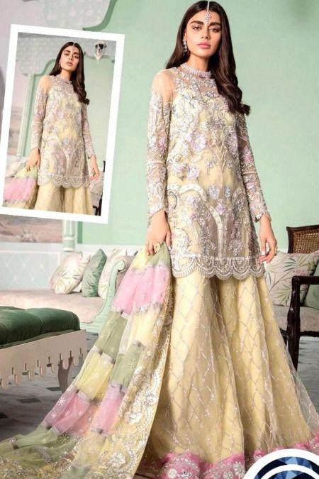Crimson custom stitch Sharara Kameez style Wedding Dress net collection