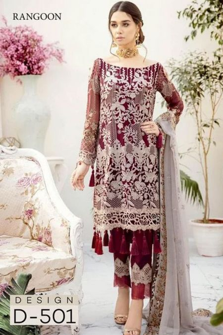 Rangoon custom stitch salwar Kameez style Wedding Dress chiffon collection