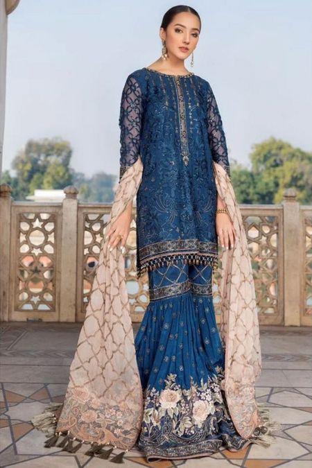 Flossie custom stitch Gharara Kameez style Wedding Dress chiffon collection