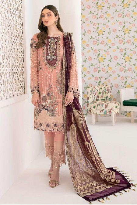 Ramsha custom stitch salwar Kameez style Wedding Dress chiffon collection M-302