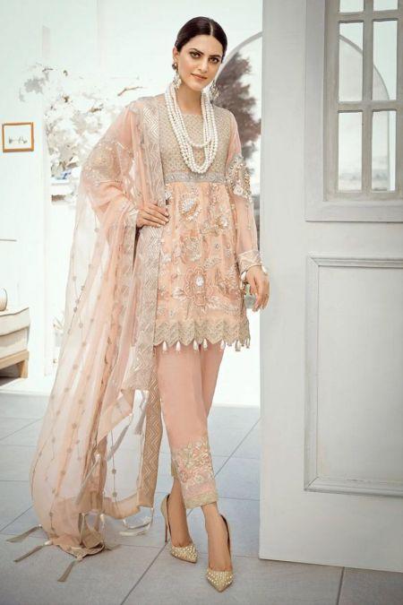 Akbar Aslam custom stitch short frock style Wedding Dress chiffon collection peach