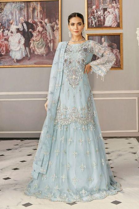 Akbar Aslam custom stitch Lehenga kameez style Wedding Dress net collection ferozi