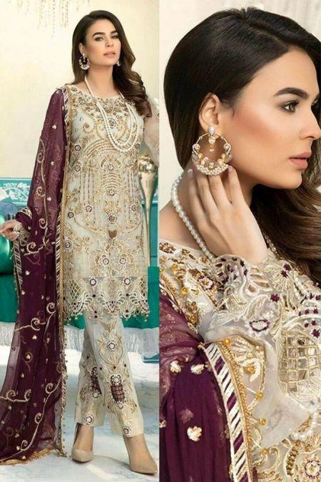 Emaan adeel custom stitch salwar Kameez style Wedding Dress chiffon collection Jewel Gradients
