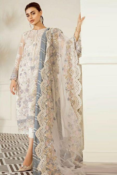 Jazmin custom stitch salwar Kameez style Wedding Dress chiffon collection Pewter