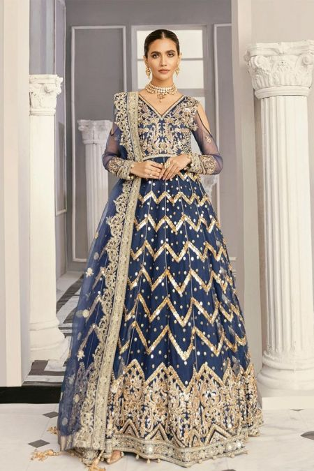Akbar Aslam custom stitch Long Frock style Wedding Dress net collection blue
