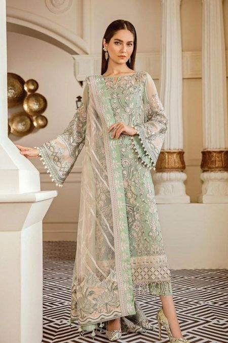 Jazmin custom stitch salwar Kameez style Wedding Dress net collection green